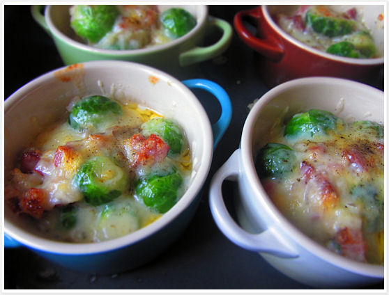 Brussels Sprouts, Cheese and Smoked Bacon Gratin