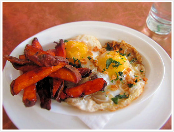 John Dory Oyster Bar - sweet potato chips with fried duck eggs