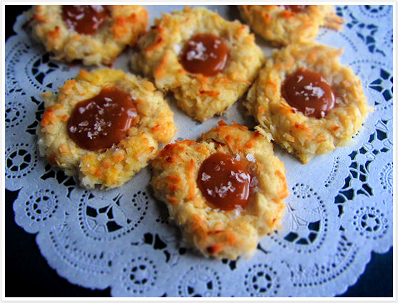 Coconut Thumbprint Cookies with Salted Caramel