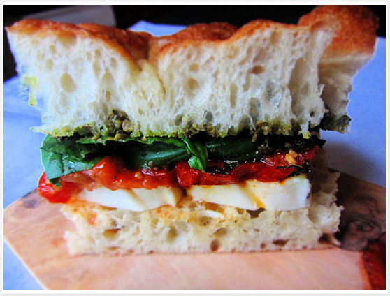Fresh Mozzarella and Tomatoes Sandwich