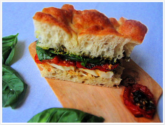 Fresh Mozzarella Sandwich with Oven-Roasted Tomatoes and Pesto