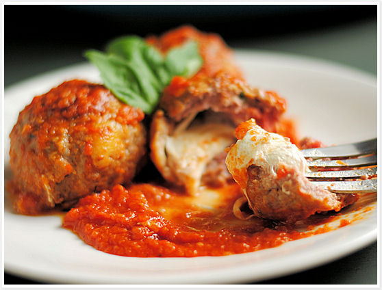 Tomato-Braised Meatballs with Melting Mozzarella