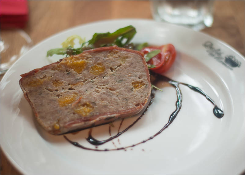 Homemade pork pate, bayonne and apricot