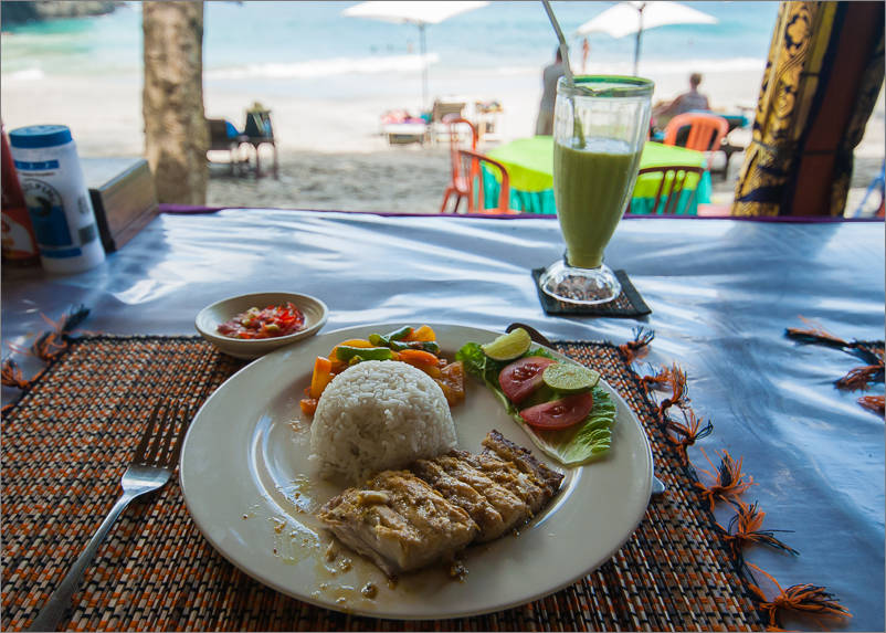 Lunch of grilled mahi-mahi