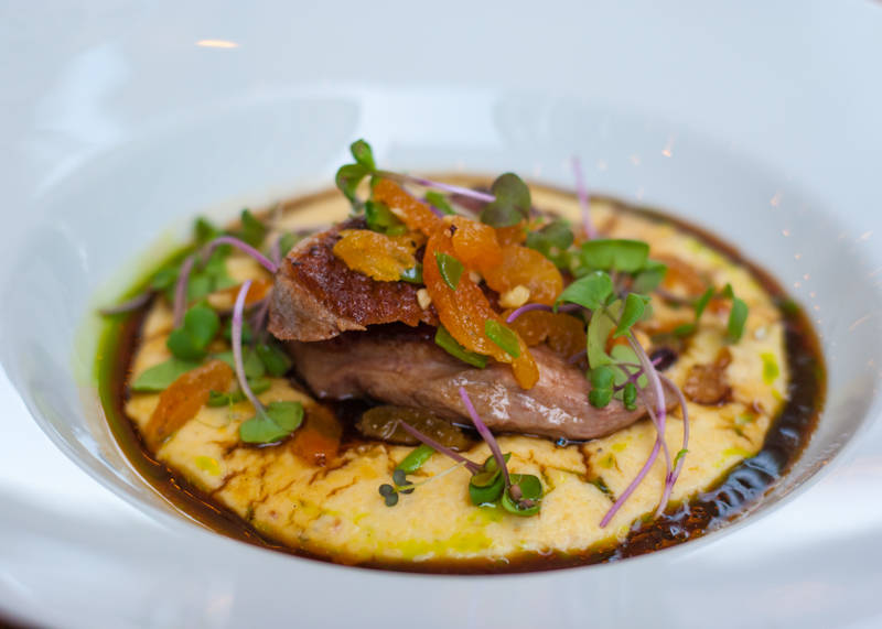 Pan Fried Duck Breast with Polenta and Peach