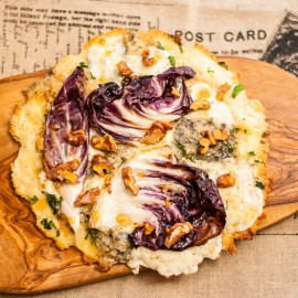 Gorgonzola, walnut, truffle honey and radicchio pizza