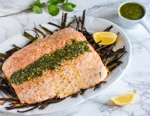 Roasted Salmon with Mint-Caper Pesto