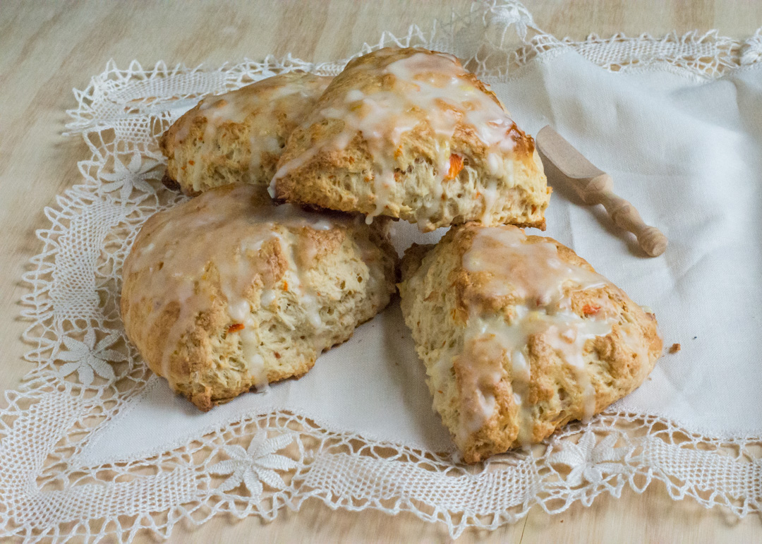Carrot Coconut Scones with Citrus Glaze