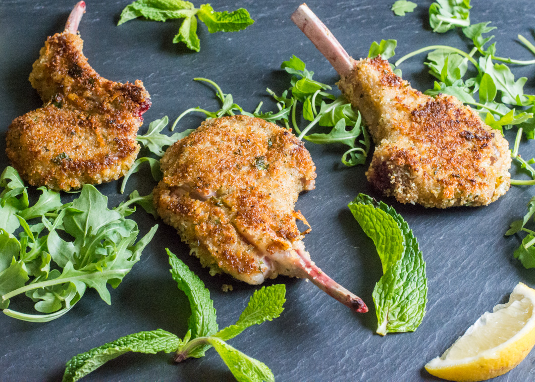 lamb chops recipe bread crumbs Breaded Lamb Chops with Cheese and Fresh Mint